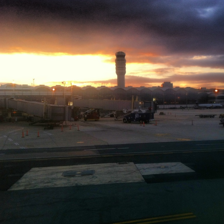 Arriving at sunset at Reagan National in DC.